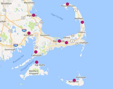 Map of Cape Cod Healthcare's VNA Center Locations