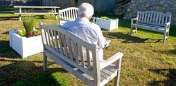 patient in the quiet outdoor space at Cape Cod Hospital