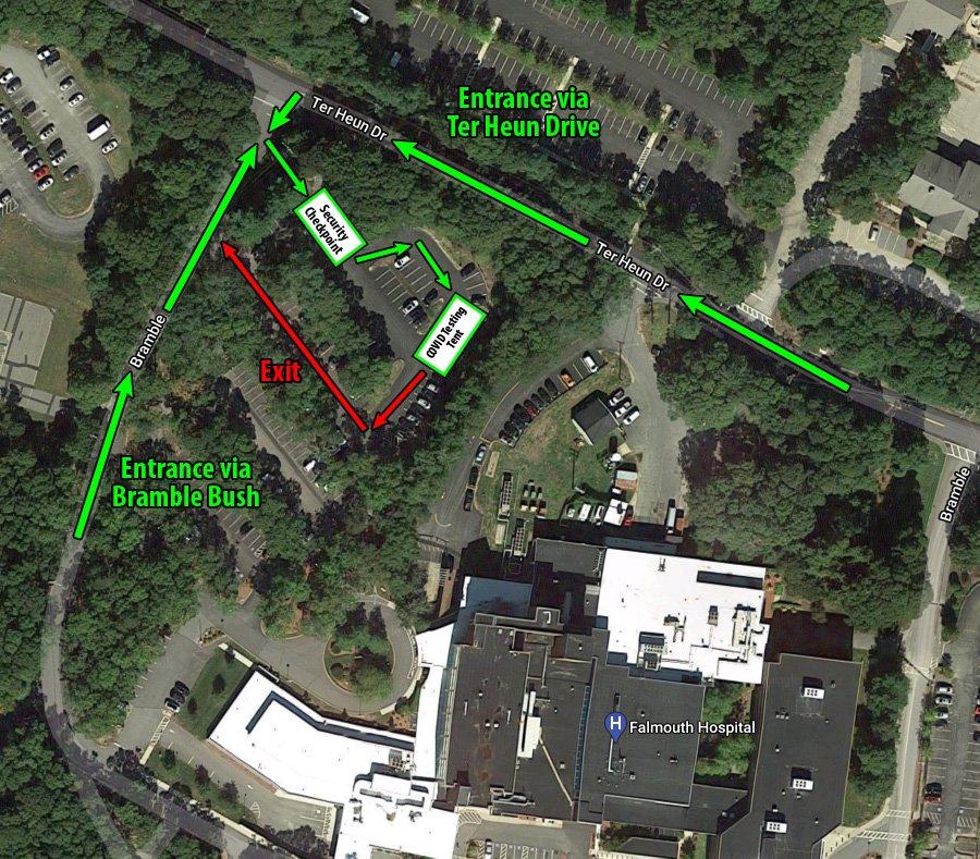 Map with directions to the Falmouth Hospital COVID Testing Tent